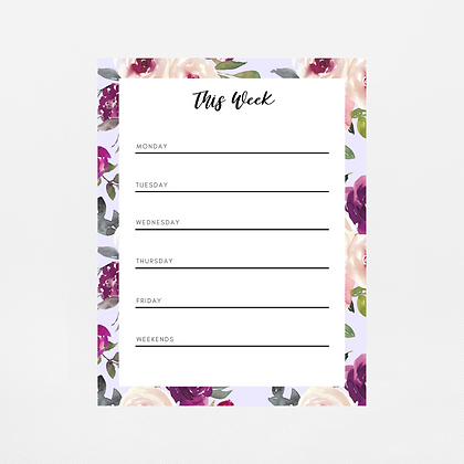 Lavender Watercolor Weekly Notepad | Customize Me