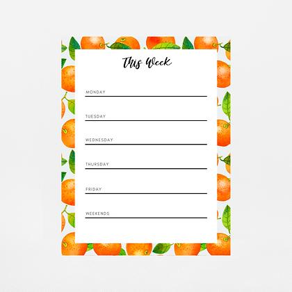 Mandarin Weekly Notepad | Customize Me