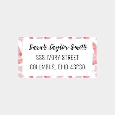 Pink Paint Strokes Return Address Labels