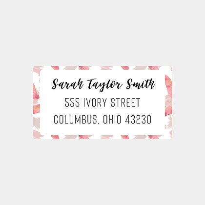 Pink Paint Strokes Return Address Labels