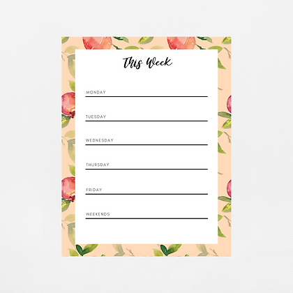 Coral Peaches Weekly Notepad | Customize Me