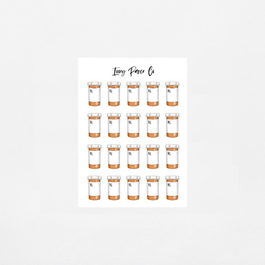 Pill Bottle Icon Sticker Sheet