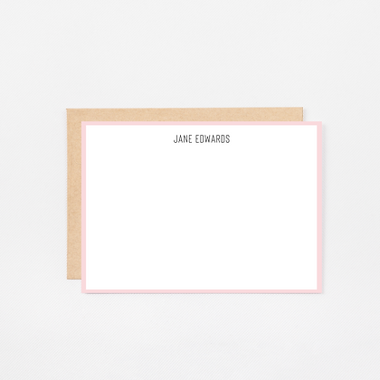 Pink Trim | Personalized Stationery Note Cards