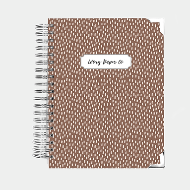 Brown Brush Strokes Undated Ivory Paper Co Planner