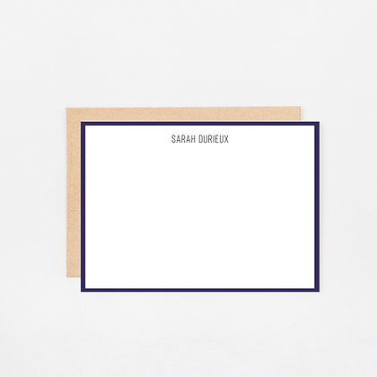 Navy Trim | Personalized Stationery Note Cards