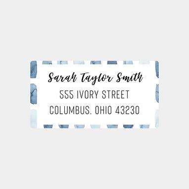 Blue Watercolor Strokes Return Address Labels
