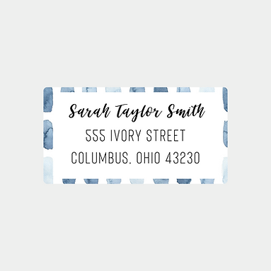 Blue Watercolor Strokes Return Address Labels