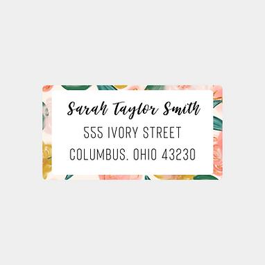 Peach Watercolor Floral Return Address Labels