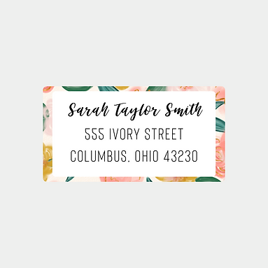 Peach Watercolor Floral Return Address Labels