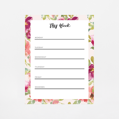 Blush Watercolor Weekly Notepad   Customize Me