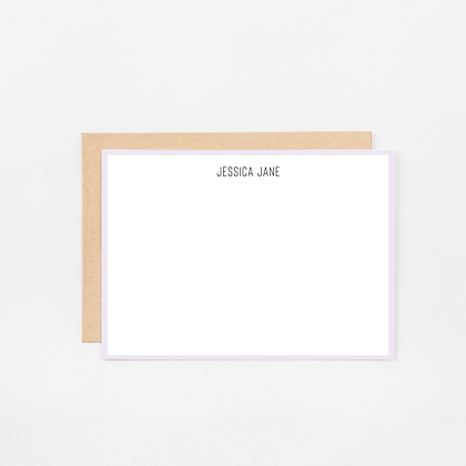 Lavender Trim | Personalized Stationery Note Cards