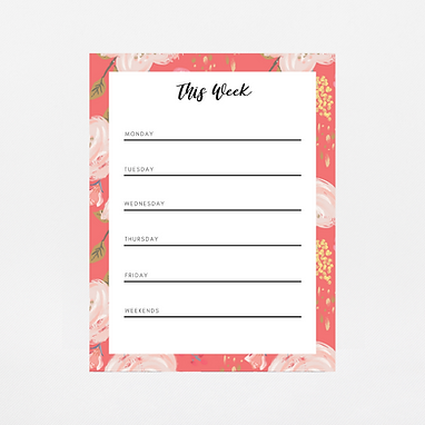 Coral Floral Weekly Notepad | Customize Me