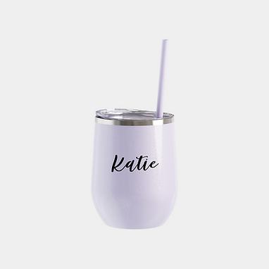 Lavender Glitter Wine Tumbler | Customize Me!