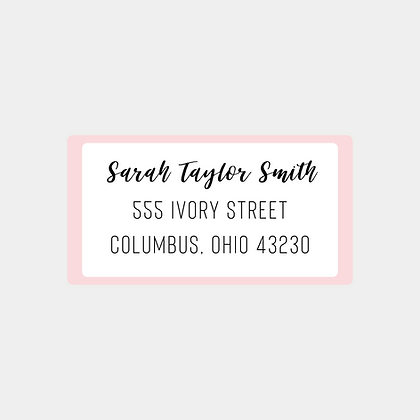 Pink Trim Return Address Labels