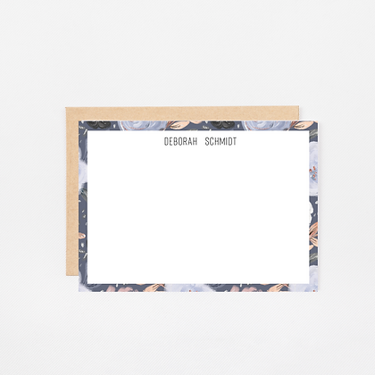 Navy Floral | Personalized Stationery Note Cards
