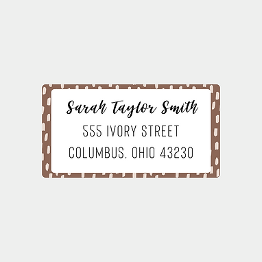 Brown Brush Strokes Return Address Labels