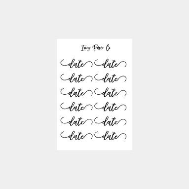 Date Script Sticker Sheet