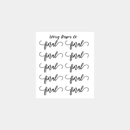 Final Script Sticker Sheet