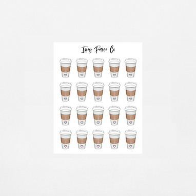 Coffee Cup Icon Sticker Sheet