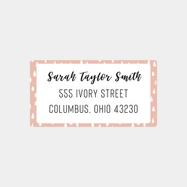 Pink Drops Return Address Labels