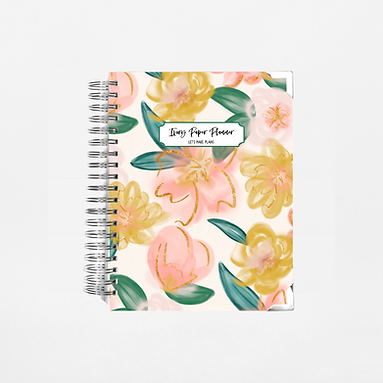 Peach Watercolor Floral Undated Ivory Paper Co Planner