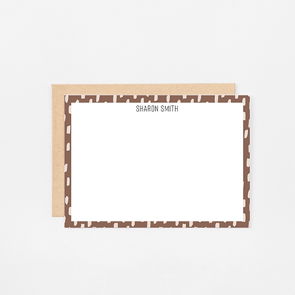 Brown Brush Strokes | Personalized Stationery Note Cards
