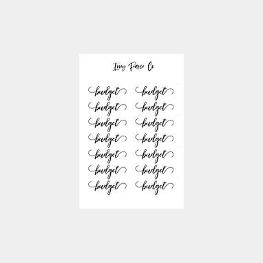 Budget Script Sticker Sheet