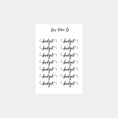 Budget Script Sticker Sheet