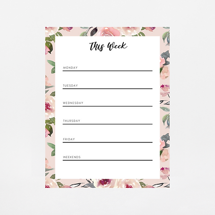 Mauve Watercolor Weekly Notepad   Customize Me