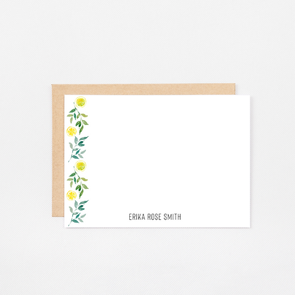Lemon Border   Personalized Stationery Note Cards