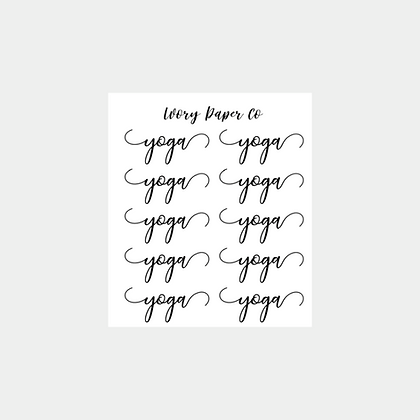 Yoga Script Sticker Sheet
