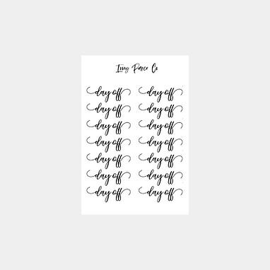 Day Off Script Sticker Sheet