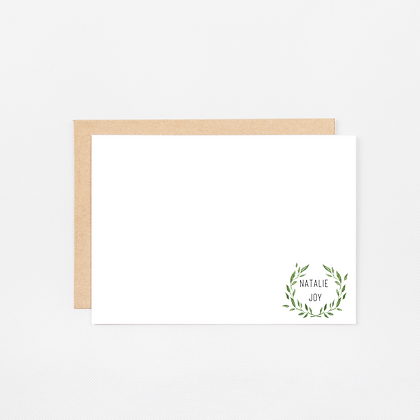 Wreath | Personalized Stationery Note Cards