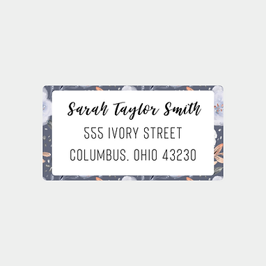 Navy Floral Return Address Labels