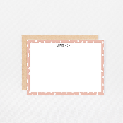 Pink Drops | Personalized Stationery Note Cards