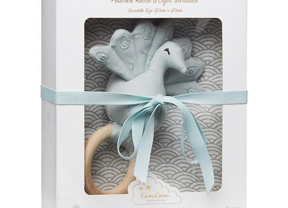 Cam Cam Copenhagen Gift Box w/Printed Swaddle and Peacock Rattle OCS Grey Wave