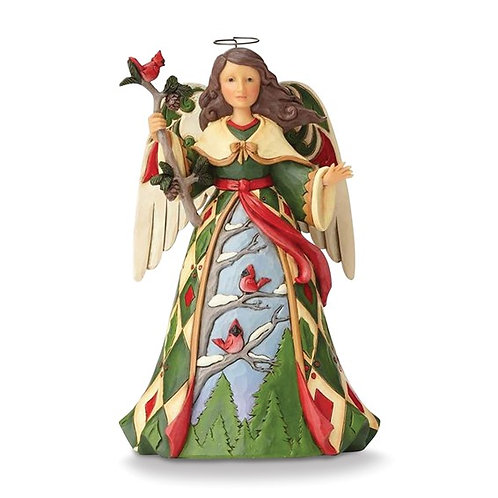 Christmas Angel with Cardinals Figurine