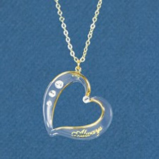 Gold Plated Crystal Heart Pendant Clear