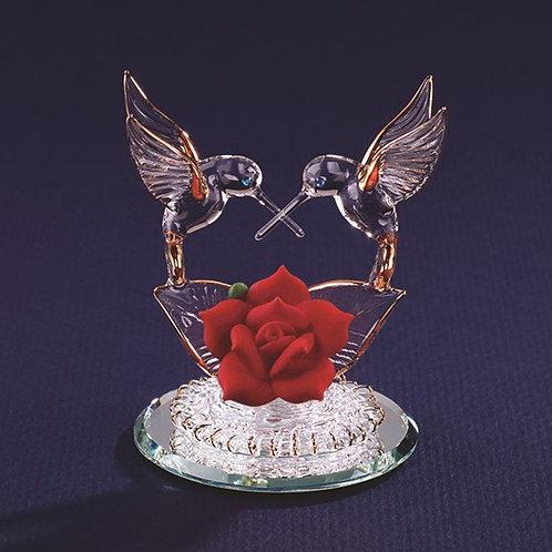 Humming Bird Heart Crystal Figurine