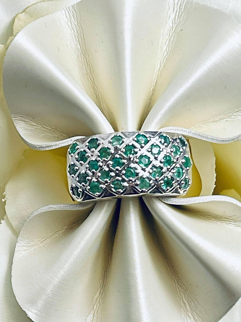 Cluster Emerald Silver Ring