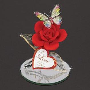 Red Rose Crystal Figurine
