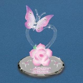 Butterfly Heart Crystal Figurine