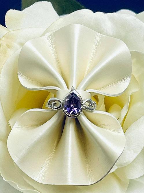 Pear Amethyst Ring