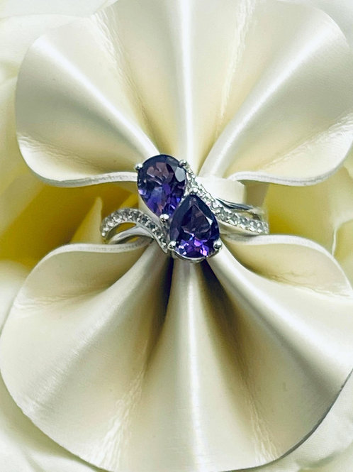 Tanzanite Twin Pear Ring