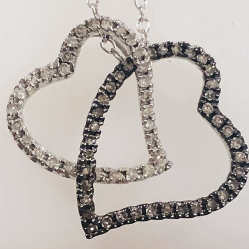 Two Tone Two Heart Pendant