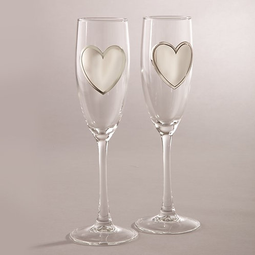 Wedding Heart Engrave-able Glasses