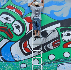 PHOTOGRAPHS OF THE CANADA 150 FENTANYL HEALING MURAL BY VANCOUVER BASED GRAFITTI ARTIST GURL23