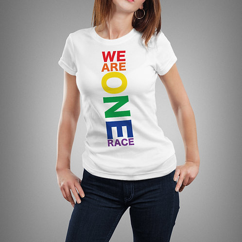 We Are One Race Color - Women's Short Sleeve White T-Shirt