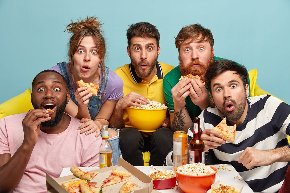 multiethnic-funny-companions-eat-popcorn-watch-horror-film-have-gaze-with-interest-express