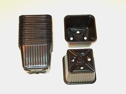 Firkantspotter, svart plast, 10 st